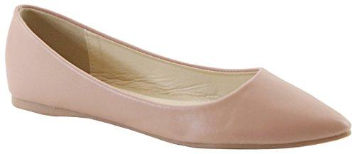 Cambridge Select Womens Classic Closed Pointed Toe Slip-On Ballet Flat Mauve Pu E5BM5P7nF