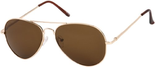 [TOP Gun PILOT Style Classic Gold Metal Frame Brown Lens Aviator Sunglasses] (Tom Cruise Top Gun Costumes)