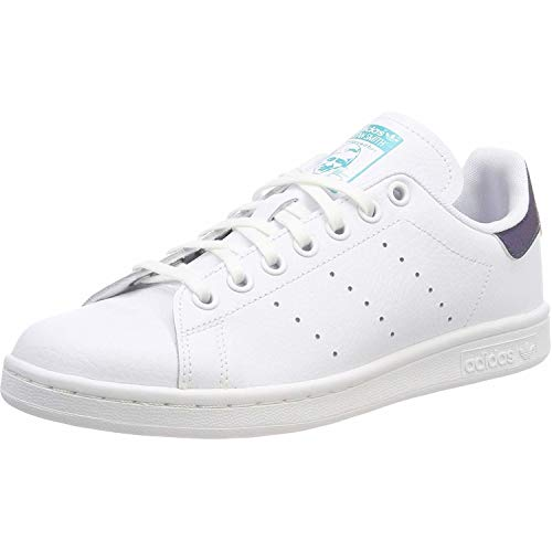 (adidas Originals Stan Smith J White/Hi-Res Aqua Leather 3.5 M US Big Kid)