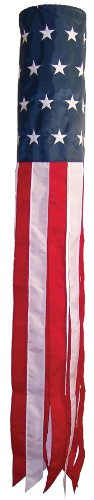 In the Breeze Stars and Stripes 60 Inch Windsock - Embroidered Stars - Durable Patriotic Hanging Decoration (Star Kite)
