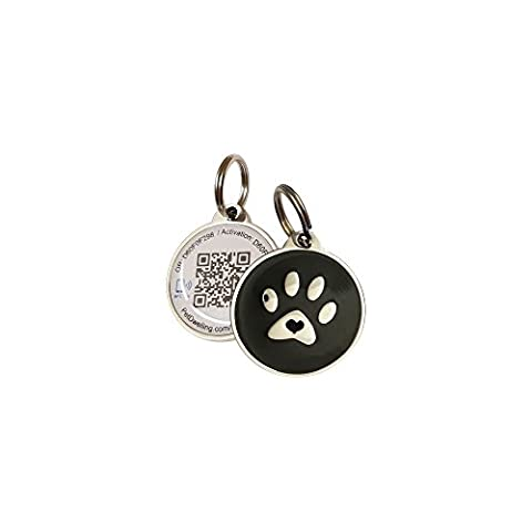 Black Paw Smart Pet ID Tag-Laser Engraved QR Code NFC URL Link Access to Personal Web Page w/Last Scanned GPS Map & Contact Medical Vet - Platinum Mobile Square