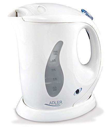 adler AD 02 Hervidor de Agua Electrico, 760 W, 0 6 litros, 0 Decibeles, Polimero Libre de BPA, Blanco