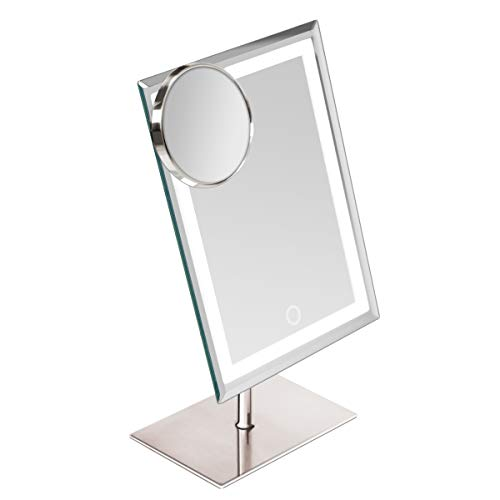 Metal & Glass LED Makeup Mirror with 80 Extra Bright Mini LED Lights,Dimming & Memory Function–5V Lighted Vanity Smart Touch Adjustable 90°& 300°Angle Rectangular Beauty with 10x Magnification Mirror