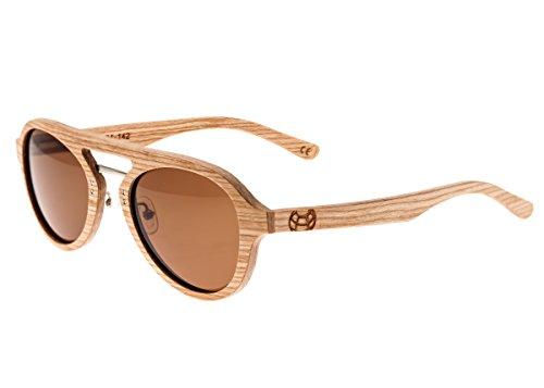 Earth Wood Cruz Polarized Aviator Sunglasses, Bamboo//Brown, 50 mm - Polarized Earth Wood Sunglasses
