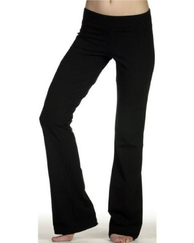 DCS Cotton Spandex Full Length Dance Workout Pant (X-Large, Black)