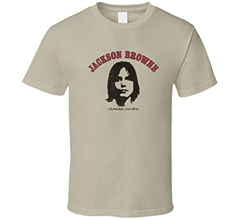 Jackson Browe Vintage Album Cover Saturate Before Using Music Classic T Shirt,Tan,Large (Jackson Browne Rock Elite Best Of Jackson Browne Live)