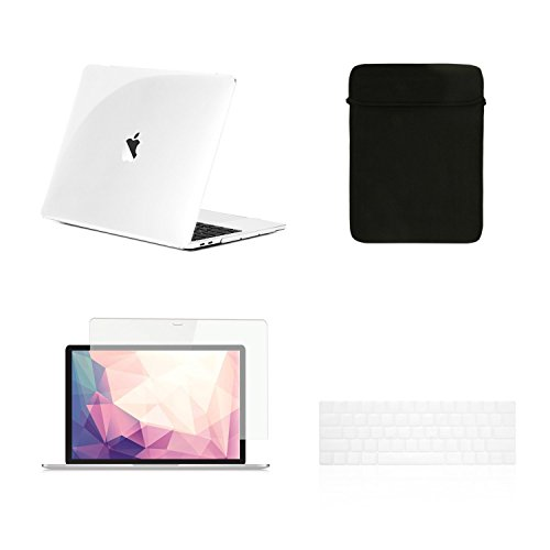 TOP CASE - 4 in 1 Crystal Hard Case, Keyboard Cover, Sleeve, Screen Protector Compatible with MacBook Pro 13