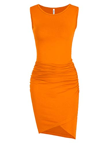 Missufe Women's Casual Ruched Bodycon Sundress Irregular Sheath T Shirt Dress (Sleeveless Orange, Small) (Sundress Sleeveless Dress)