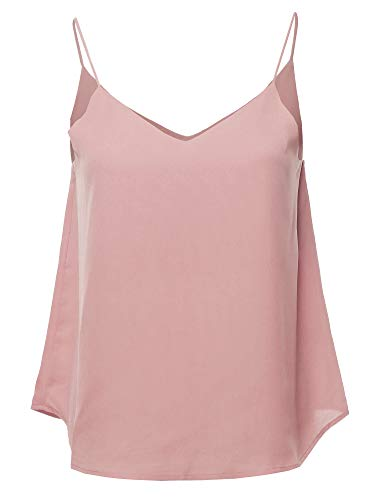 Solid Double V-Neck Cami Woven Tank Top Blush S