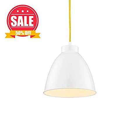 【SALE】Ceiling Hanging Fixture, White Kitchen Pendant Lights, Farmhouse Pendant Light Fixtures, Bar, Store White Finished Metal Shade Light, WISBEAM, Peace making for Living room or - Elegance Ceiling Light