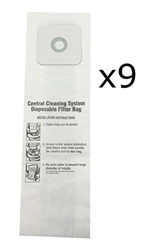 CV350, CV352, CV353, CV450, CV653 CENTRAL VACUUM BAGS for Nutone 9-Pack