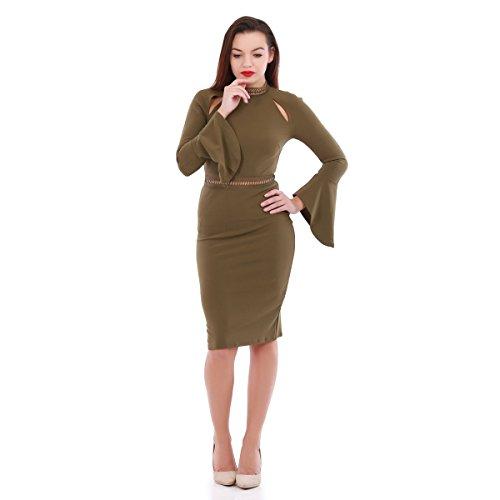 La Modeuse - Vestido - ajustado - para mujer caqui
