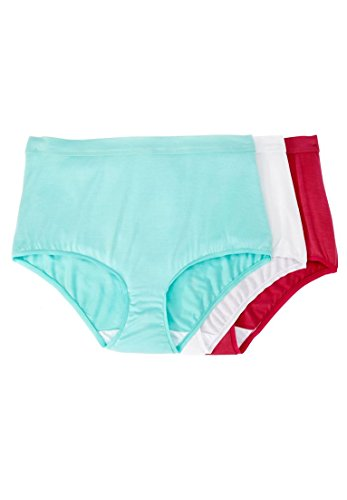 Comfort Choice Women's Plus Size 3-Pack Modal Full-Cut Brief A Bright Pack,12