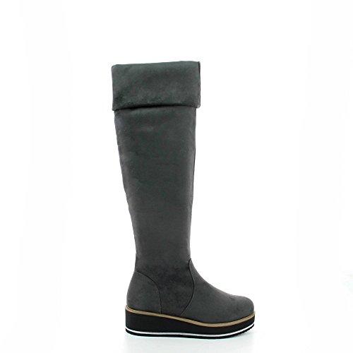 compens Ideal semelle Cuissardes daim effet Shoes avec RBwxRYF