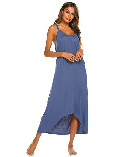 Ekouaer Women's V-Neck Sleeveless Nightgown, Thin Shoulder Strap, Sexy Casual Nightdress