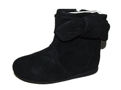 1e36c68c01104 Ex Zara Filles bébé Daim Noir NŒUD MODÈLE Lutin Bottes Taille 2.5-6 ...