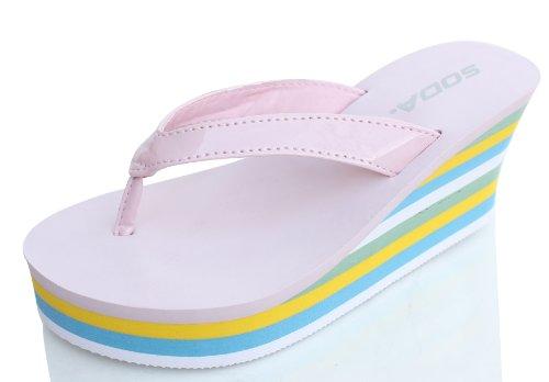 Dust-Pink-Leatherette-Color-Stripe-Platform-Wedge-Flip-Flop-Thong-Sandals-Quail