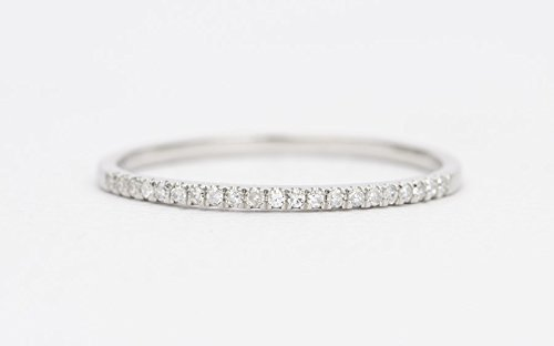 Ring Round Eternity Brilliant Diamond - 18K Gold Diamond Wedding Band Micro Pave Setting Half Eternity 21 Diamonds 1mm Width Thin Wedding Band Stacking Rings AD1104