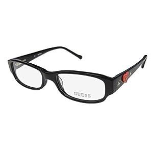 Guess 9084 Womens/Ladies Designer Full-rim Rhinestones Flexible Hinges Eyeglasses/Eyewear (48-15-130, Black Glitter / Gold / Red)