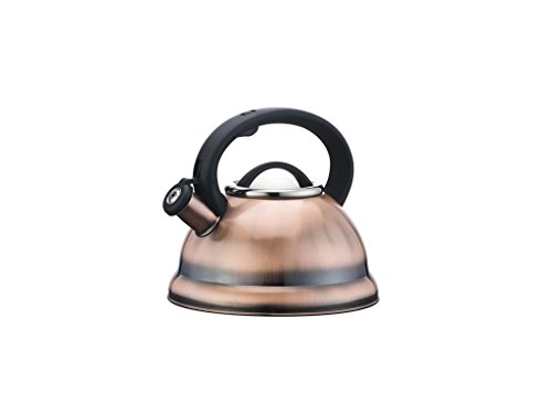 Home N Kitchenware Collection 2.8 (3 Quart) Liter Stainless Steel Whistling TeaKettle Teapot, Bakelite handle, Encapsulated Base 18/10 Stainless Steel Whistling Tea Kettle Pot, Copper Finish