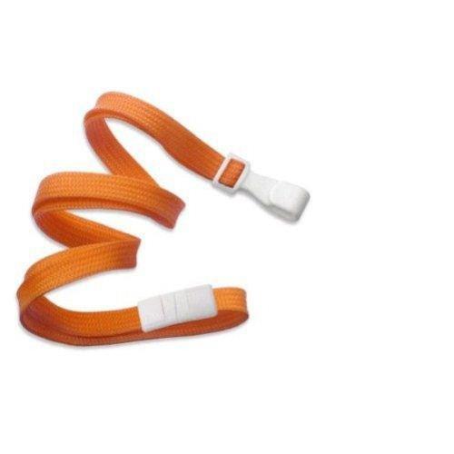 Orange Lanyard, flat braid, break-away, wide plastic no twist hook, 3/8'' wide (100pk) by Brady People ID