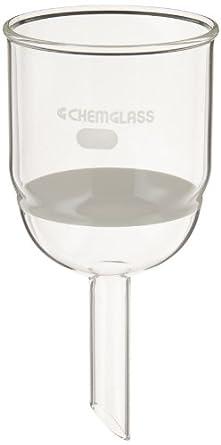 Chemglass CG-1402-23 Glass Buchner Filtering Funnel with Medium Frit, 350mL Capacity, 19mm OD x 75mm Length Stem, 80mm Diameter