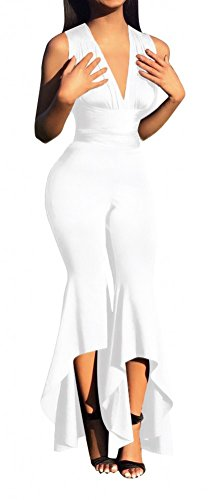 [Women Stretch Fitted High Waist Jumpsuit with Fishtail Wide Leg Pants White XL] (Stretch Jumpsuit)
