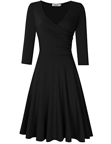 Tan Gold Flare (MISSKY Women V Neck A Line Slim Fit and Flare Short Sleeve and Long Sleeve Swing Cocktail Vintage Summer Dress (XXXL, Black Long Sleeve))