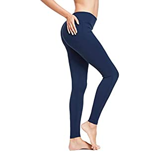 BALEAF Women's Ankle Legging Athletic Yoga Hiking Workout Running Pants Inner Pocket Non See-Through Estate Blue Size XXXL