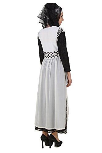 AY Taybah Abaya und Fancy Blumen Schwarz MyBatua Net 462 Weiß Oqax1wn8