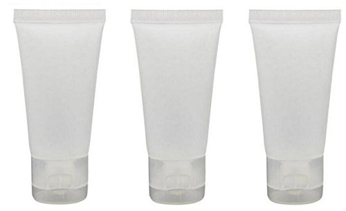 ASTRQLE 24PCS Clear Refillable Empty Plastic Squeeze Soft Tubes Bottle Sample Packing Jars Makeup Container for Body Lotion Shower Gel Shampoo Cleanser (100ml / 3.4oz)