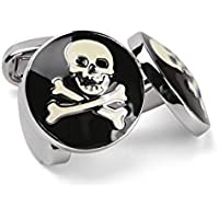 Welbijoux Cufflinks Unique Round Bone and Skull Engraved Cuffs Luxury Shirt Silver Cuff Link for Men