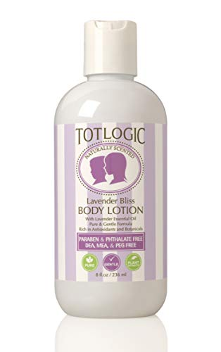 TotLogic Kids and Baby Safe Natural Body Lotion - 8 oz Lavender - Scented with Essential Oils - Plant Based Formula for Dry Skin
