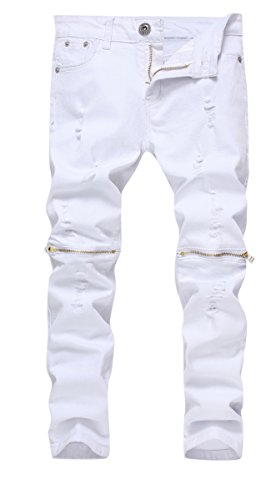 Boy's White Slim Fit Skinny Jeans Ripped Elastic Waist Pants with Zipper for Kids,White,14 Slim]()
