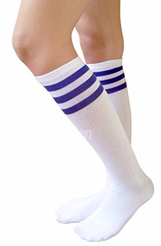 766cc365e AM Landen Women s Casual White with Three Blue Stripes Knee High Socks  Girls socks   Casual Socks   Clothing