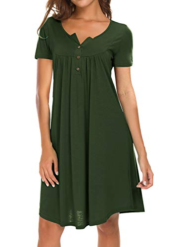 (AMCLOS Womens V Neck Dress Casual Swing Simple Ruffle Button up Loose Dresses 3/4 Sleeve Long Sleeve (X-Large, Short-Green))