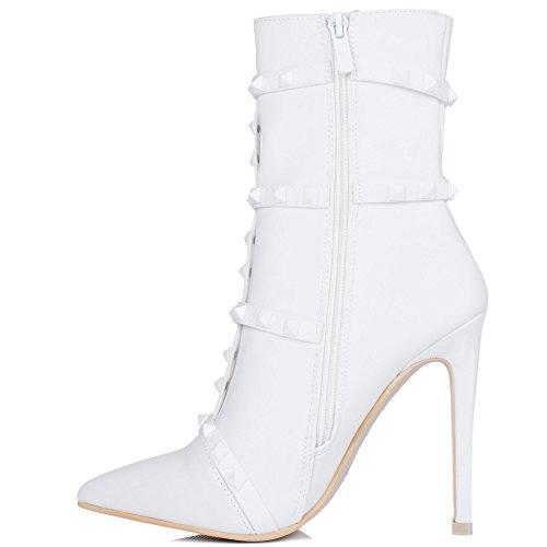 Bottines Talon Tirette Blanc Chaussures Dragona À Stretch Spylovebuy Aiguille Femmes SnYx6WqfaH