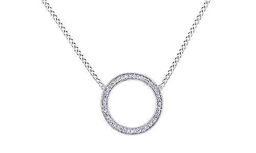 AFFY White Natural Diamond Circle Pendant Necklace in 14k White Gold Over Sterling Silver