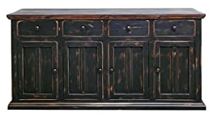Rustic 4 Door Brown Black Buffet Cabinet Western Dining Room Solid Wood
