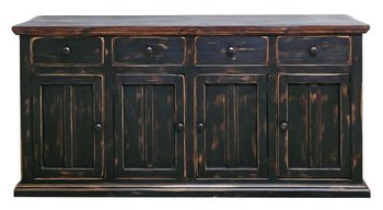 Delicieux Rustic 4 Door Brown Black Buffet Cabinet Western Dining Room Solid Wood