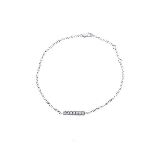 Libertini bracelet argent 925 femme plaque or Rose serti de Diamant en forme de Bâton