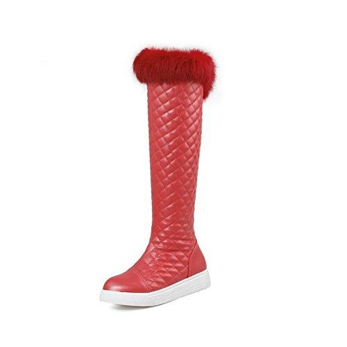 AllhqFashion Womens Zipper Round Closed Toe Low Heels Pu Solid Boots Red twFPXvw7i1