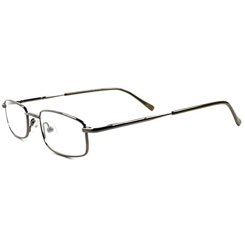 Rx Prescription Ready Slick Modern Rectangle Metal Clear Lens Eye Glasses - Glasses Slick Modern