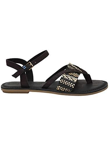 (TOMS Lexie Sandals Black Canvas with Geometric Woven Strap 10013303 Women's Size 8.5)