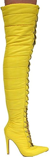 CAPE ROBBIN Gigi-23 Over Knee Pointed Toe Lace up Puffer Thigh High Heel Boots Yellow 6