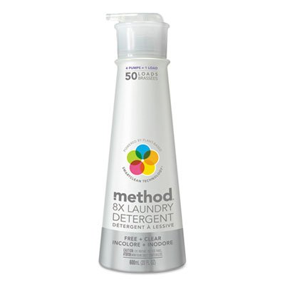 8x Laundry Detergent, Free & Clear, 20 Oz Bottle, 6/carton by Method