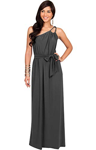 KOH KOH Plus Size Womens Long Sleeveless One Shoulder Cocktail Evening Formal Bridesmaid Bridal Wedding Party Summer Sexy Cute Maternity Gown Gowns Maxi Dress Dresses, Dark Gray Grey XL 14-16