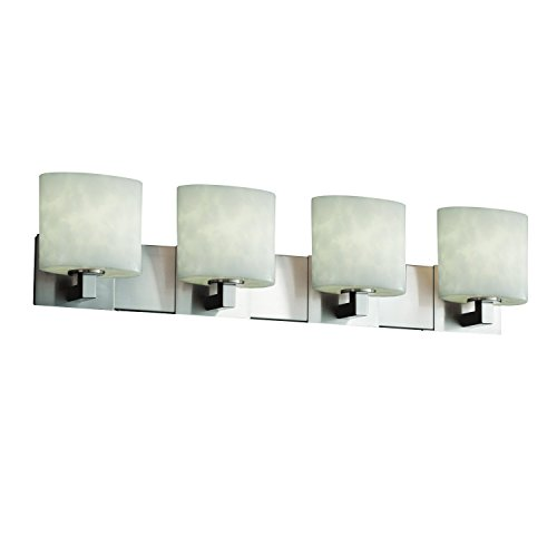 Justice Design Group Clouds 4-Light Bath Bar - Brushed Nickel Finish with Clouds Resin Shade (Bath Four Light Nickel Cloud)