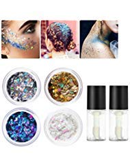 PIXNOR Body Glitter 4 Colors Holographic Chunky Glitter with 2pcs Long Lasting Fix Gel for Face, Body, Hair and Nail ()