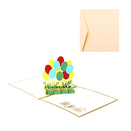 2 Pcs/Pack 15x15cm 3D Stereoscopic Hallow Out Paper Art Colorful Hot Air Balloon Birthday Card Wedding Card for Anniversary Christmas Halloween(Greeting Card and Envelope) -
